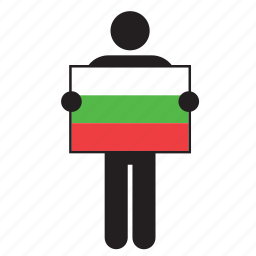 bulgaria, bulgarian, country, flag, holding, man icon