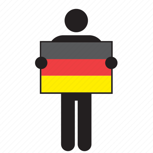 country, flag, german, germany, holding, man icon