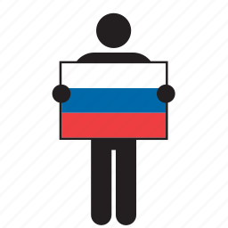 country, flag, holding, man, russia, russian icon