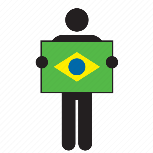brazil, brazilian, country, flag, holding, man icon