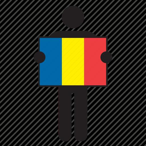 country, flag, holding, man, romania, romanian icon