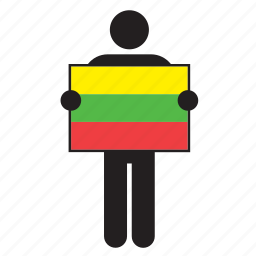 country, flag, holding, lithuania, lithuanian, man icon