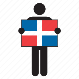 country, dominican republic, flag, holding, man icon