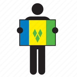 country, flag, holding, island, man, saint vincent and the grenadines icon