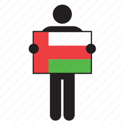 country, flag, holding, man, oman icon
