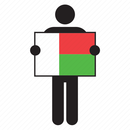 country, flag, holding, madagascar, man icon
