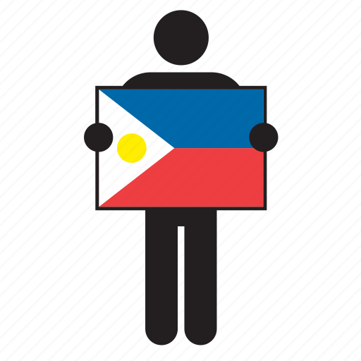 country, flag, holding, man, philippine, philippines icon