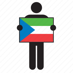 country, equatorial guinea, flag, holding, man icon