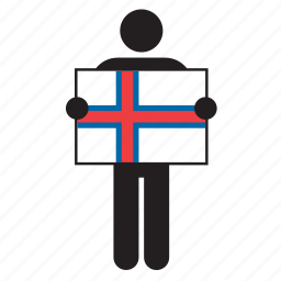 country, faroe islands, flag, holding, man icon