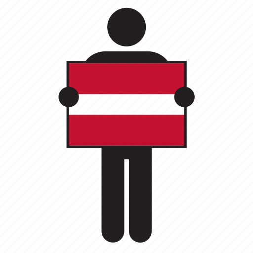 country, flag, holding, latvia, latvian, man icon