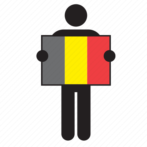 belgian, belgium, country, flag, holding, man icon