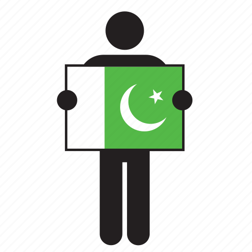 country, flag, holding, man, pakistan icon