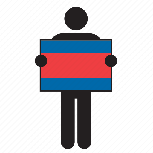 cambodia, cambodian, country, flag, holding, man icon