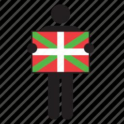 basque country, country, euskadi, flag, holding, man, spain icon