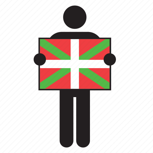 basque country, country, euskadi, flag, holding, man, spain icon