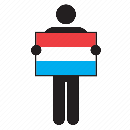 country, dutch, flag, holding, holland, man, netherlands icon