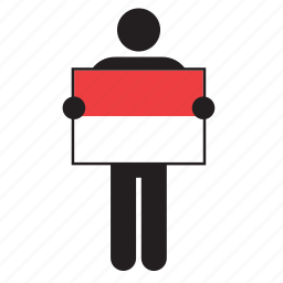 country, flag, holding, indonesia, indonesian, man icon