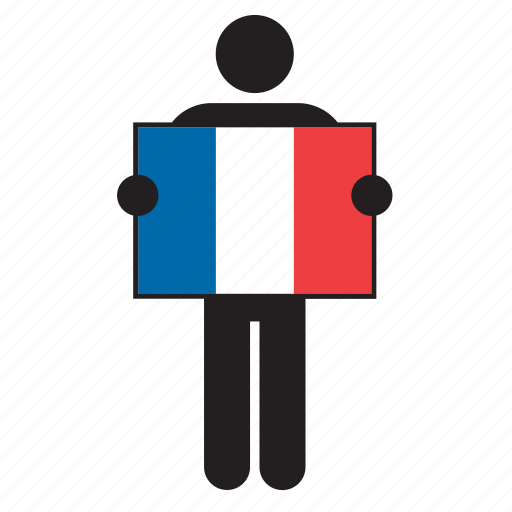 country, flag, france, french, holding, man icon