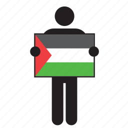 country, flag, holding, jordan, kuwait, man icon