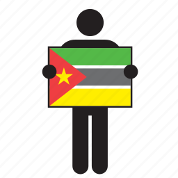 country, flag, holding, man, mozambican, mozambique icon