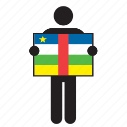 africa, african, central african republic, country, flag, holding, man icon