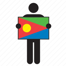 country, eritrea, eritrean, flag, holding, man icon