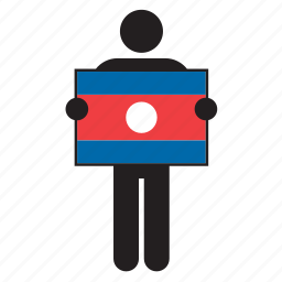 country, flag, holding, laos, man icon
