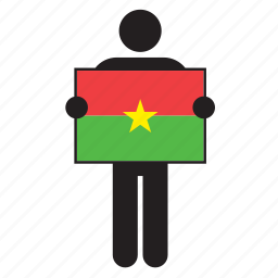 burkina faso, country, flag, holding, man icon