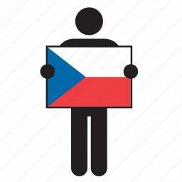 country, czech, czech republic, flag, holding, man icon