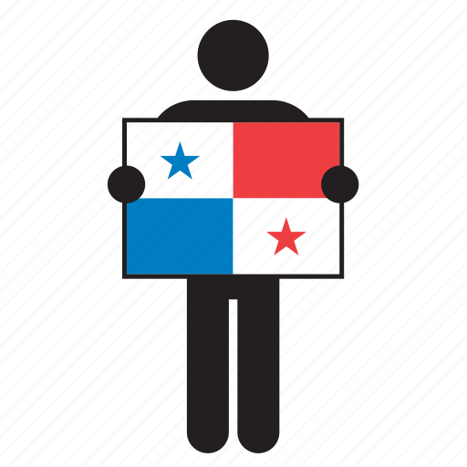country, flag, holding, man, panama icon