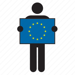 eu, europe, european, european union, flag, holding, man icon