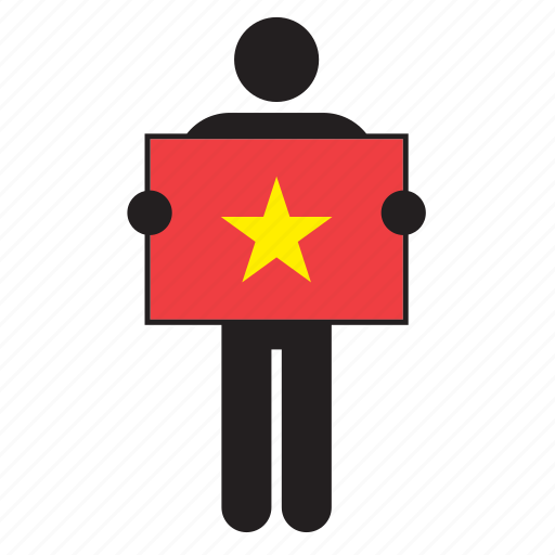 country, flag, holding, man, vietnam icon