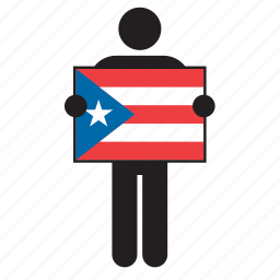 country, flag, holding, man, puerto rican, puerto rico icon