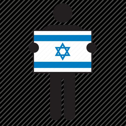 country, flag, holding, israel, israeli, israelite, man icon