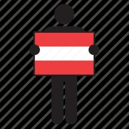 austria, austrian, country, flag, holding, man icon