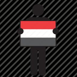 country, flag, holding, man, yemen icon