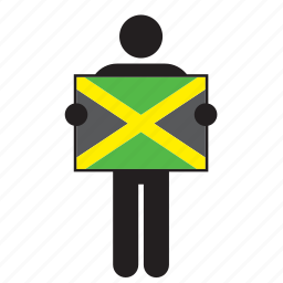 country, flag, holding, jamaica, jamaican, man icon