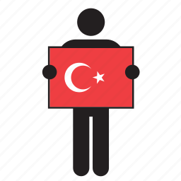 country, flag, holding, man, turkey, turkish icon