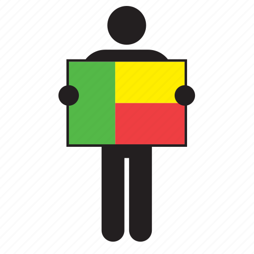 benin, country, flag, holding, man icon