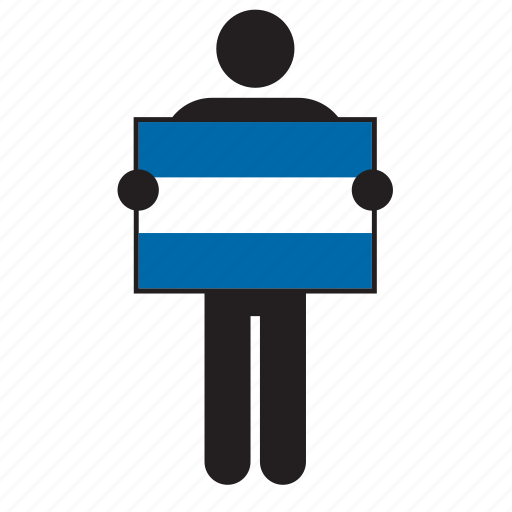 country, el salvador, flag, holding, honduras, man, nicaragua icon