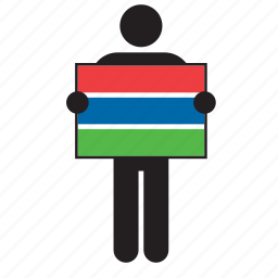 country, flag, gambia, gambian, holding, man icon