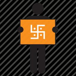 flag, hindu, hinduism, man, religion, religious, swastika icon