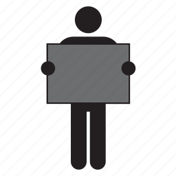 black, color, flag, grey, holding, man, poster icon