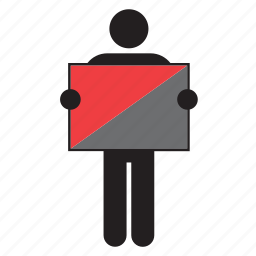 anarchist, flag, holding, man icon