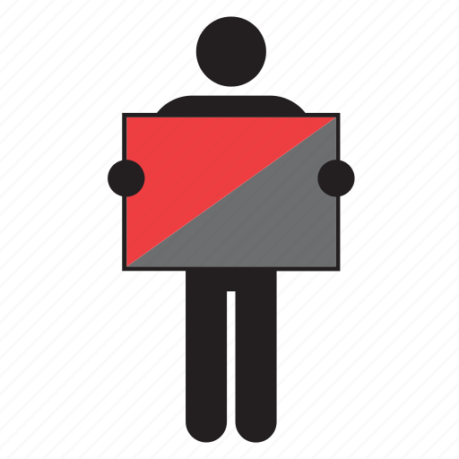 anarchist, flag, holding, man icon