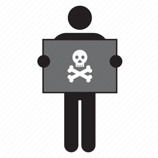country, flag, holding, man, pirate, skull icon