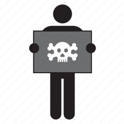 flag, holding, man, pirate, skull icon