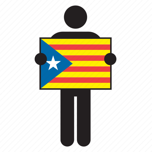 catalan, catalonia, flag, independence, man, nationalist, pro-independence icon