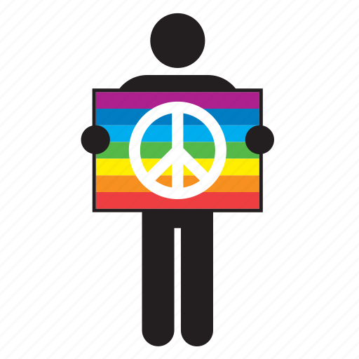 anti-war, flag, peace, rainbow, sign, symbol, war icon