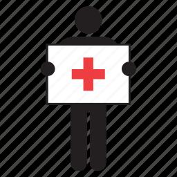 flag, hospital, humanitarian, man, medical, movement, red cross icon